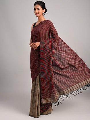 Maroon Handwoven Cotton Eri Silk Saree