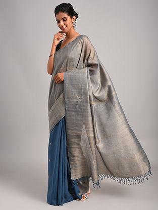 Grey Handwoven Cotton Tussar Silk Saree