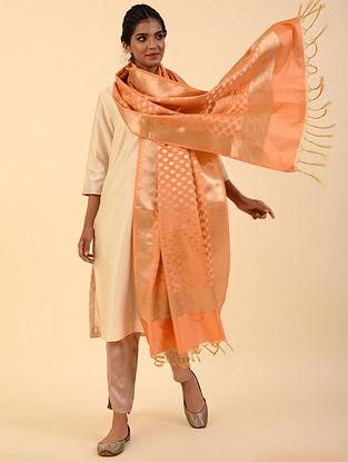 Orange Benarasi Silk Blend Dupatta