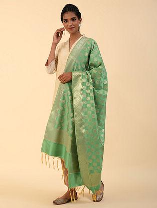 Green Benarasi Silk Blend Dupatta