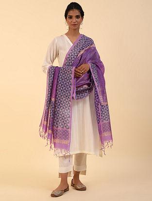 Purple Handblock Printed Chanderi Dupatta