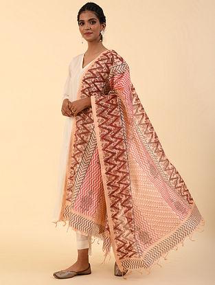 Beige - Pink Block Printed Chanderi Dupatta