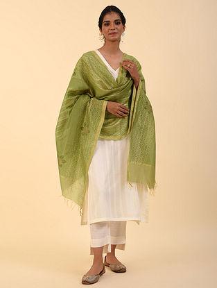 Green Handblock Printed Chanderi Dupatta