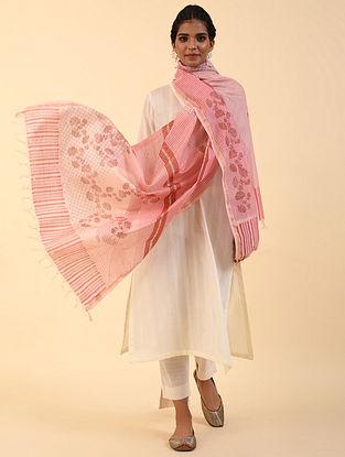 Pink Handblock Printed Chanderi Dupatta