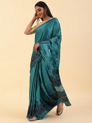 Blue Handblock Printed Modal Saree