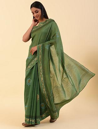 Green Handblock Printed Chanderi Saree