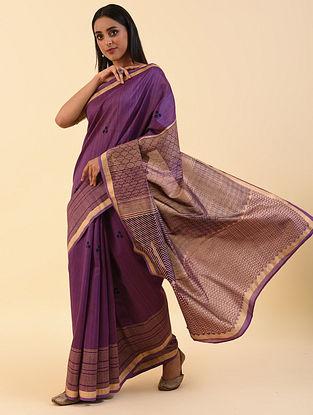 Purple Block Printed Chanderi Saree