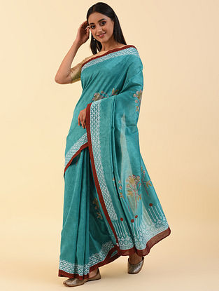 Blue Block Printed Chanderi Saree