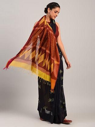 Black Shibori Maheshwari Cotton Silk Saree