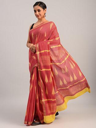 Pink  Shibori Maheshwari Cotton Silk Saree