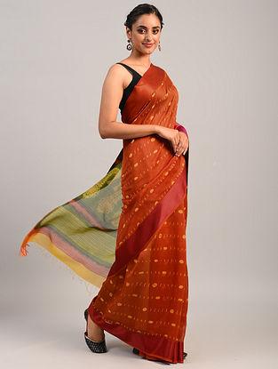Orange Shibori Maheshwari Cotton Silk Saree