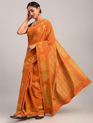 Orange Shibori Cotton Saree