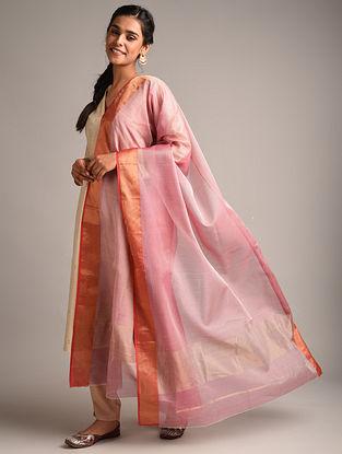 Pink Handwoven Maheshwari Cotton Silk Dupatta
