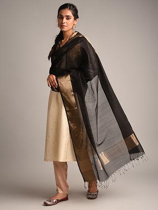 Black Handwoven Maheshwari Cotton Silk Dupatta