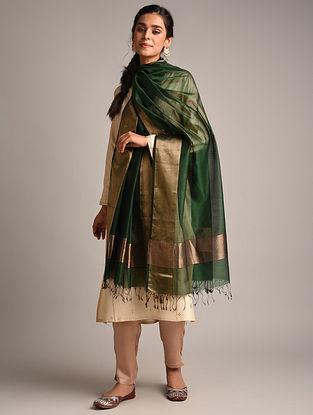Green Handwoven Maheshwari Cotton Silk Dupatta
