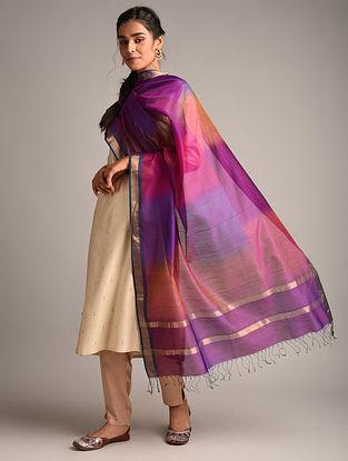 Magenta Handwoven Maheshwari Cotton Silk Dupatta