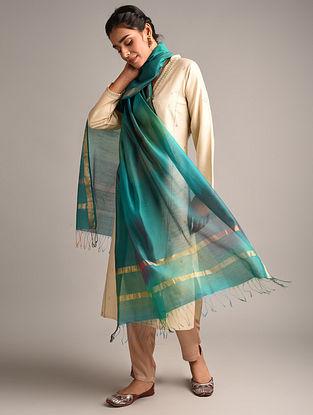 Blue  Handwoven Maheshwari Cotton Silk Dupatta