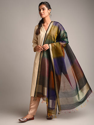 Multicolour Handwoven Maheshwari Cotton Silk Dupatta