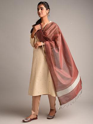 Maroon Handwoven Maheshwari Cotton Silk Dupatta