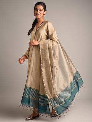 Beige Handwoven Maheshwari Cotton Silk Dupatta