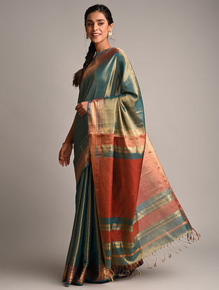 Green Handwoven Maheshwari Woven Tissue Saree