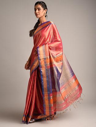 Pink Handwoven Maheshwari Woven Tissue Saree