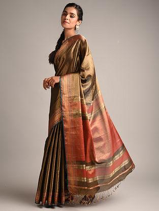 Brown Handwoven Maheshwari Woven Tissue Saree