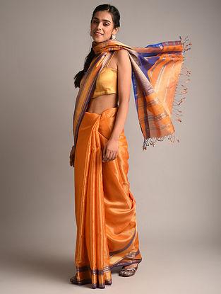 Orange Handwoven Maheshwari Woven Tissue Saree