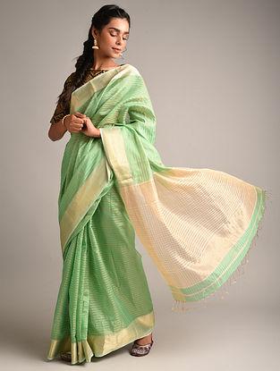 Green Handwoven Maheshwari Tissue Silk Saree