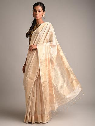 Off White Handwoven Maheshwari Tissue Silk Saree