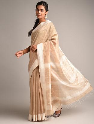 Beige Handwoven Maheshwari Linen Saree