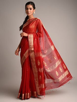 Red Handwoven Maheshwari Silk Saree