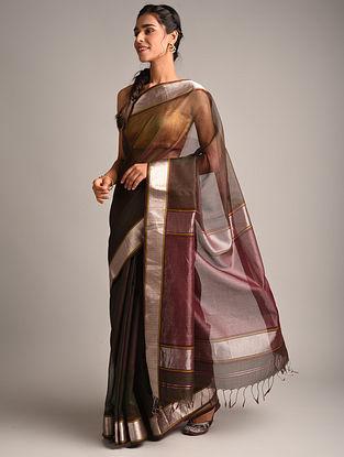 Purple  Handwoven Maheshwari Checkered Saree