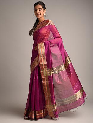 Pink Handwoven Maheshwari Silk Saree