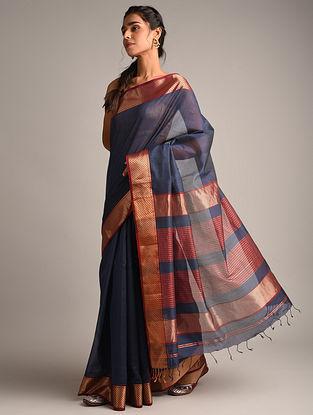 Navy Blue Handwoven Maheshwari Silk Saree