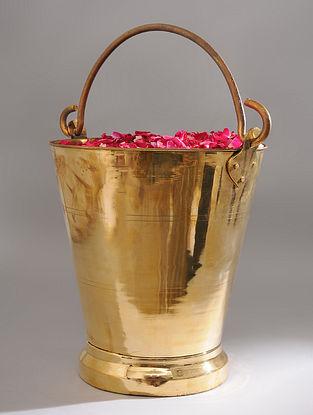 Vintage Handmade Brass Bucket (L - 14.5in, W - 11.6in, H - 13in)