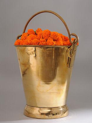 Vintage Handmade Brass Bucket (L - 13.2in, W - 10.6in, H - 11.5in)