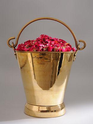 Vintage Handmade Brass Bucket (L - 13in, W - 9.2in, H - 10.2in)