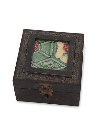 Vintage Handmade Wooden Box with Ceramic Tile (L - 4.6in, W - 4.6in, H - 3in)
