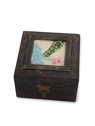 Vintage Handmade Wooden Box with Ceramic Tile (L - 4.5in, W - 4.6in, H - 3in)