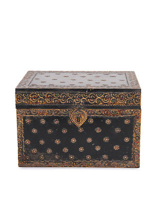 Vintage Handmade Wooden Painted Box (L - 8in, W - 11.6in, H - 8in)