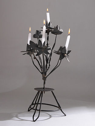 Vintage Handmade Iron Candle Stand (L - 8.5in, W - 11in, H - 17.6in)