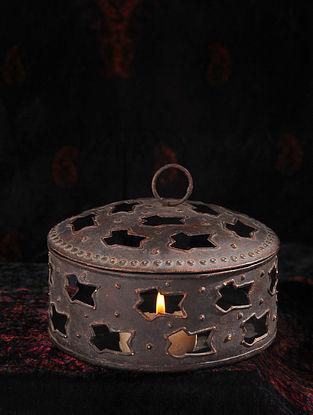 Vintage Handmade Iron Tea Light Holder (Dia - 6in, H - 3.5in)
