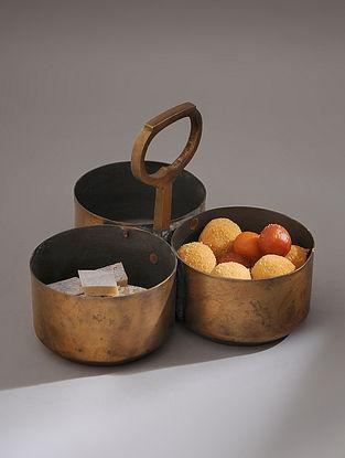 Vintage Handmade Brass Food Pot (Dia - 10in, H - 8.5in)