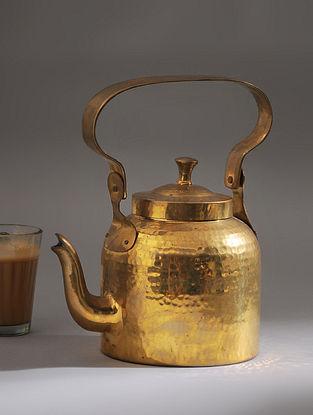 Vintage Handmade Brass Kettle (L - 7.5in, W - 5in, H - 6.2in)