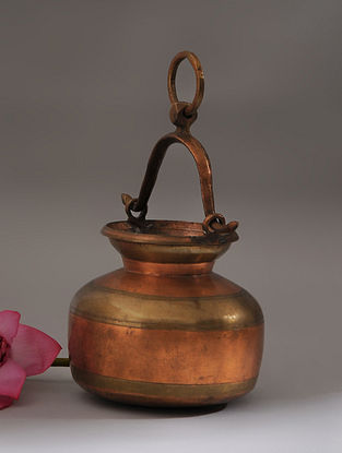 Vintage Handmade Brass and Copper Pot (L - 6in, W - 6.5in, H - 5.5in)
