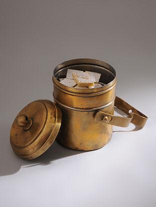 Vintage Handmade Brass Tiffin Box (L - 5.5in, W - 4.2in, H - 8.6in)