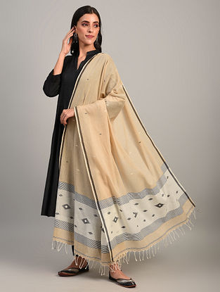Beige Handloom Jamdani  Cotton Dupatta