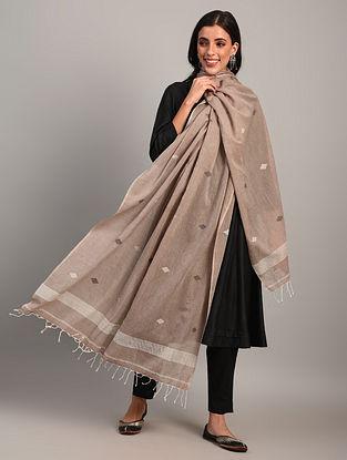Brown Handloom Jamdani  Cotton Dupatta