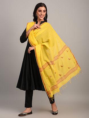 Yellow Handloom Jamdani  Cotton Dupatta